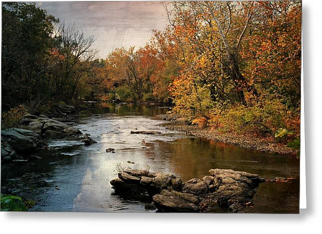 Stein Greeting Cards - Neshaminy Creek in Autumn Greeting Card by Valerie Stein