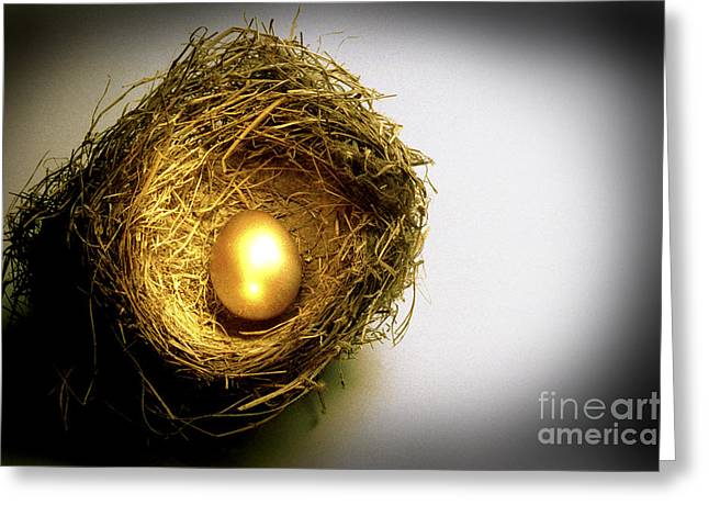 Golden Egg Greeting Cards - Nest Egg Greeting Card by Jerry McElroy