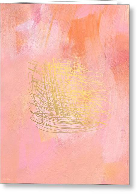 Bedroom Art Greeting Cards - Nest- Pink and Gold Abstract Art Greeting Card by Linda Woods