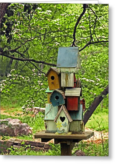 Birdhouses Greeting Cards - Nesting Greeting Card by Don Spenner