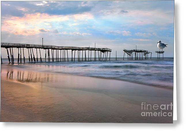 Frisco Pier Greeting Cards - Nesting on Broken Dreams - Outer Banks Greeting Card by Dan Carmichael