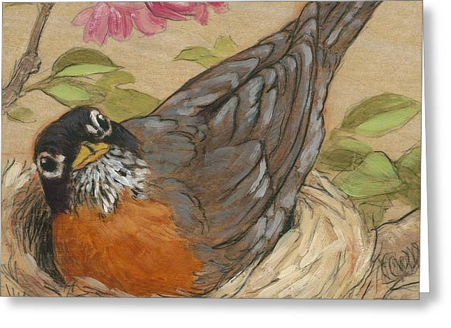 Robin Mixed Media Greeting Cards - Nesting Robin Greeting Card by Tracie Thompson