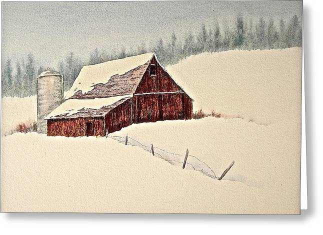 Barn And Silo Greeting Cards - Nestled in White Greeting Card by Carolyn Rosenberger