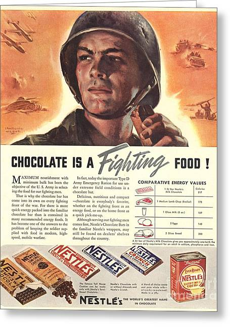 Ww Ii Drawings Greeting Cards - NestleÕs 1940s Usa Propaganda Chocolate Greeting Card by The Advertising Archives