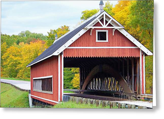 Covered Bridge Greeting Cards - Netcher Road Covered Bridge Greeting Card by Gena Weiser