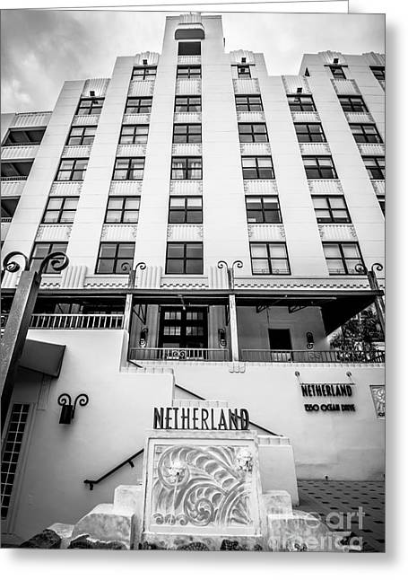 Historic District Greeting Cards - Netherland Hotel South Beach Art Deco District - Black and White Greeting Card by Ian Monk