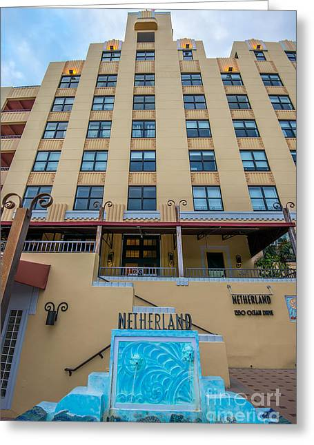 Historic District Greeting Cards - Netherland Hotel South Beach Art Deco District  Greeting Card by Ian Monk