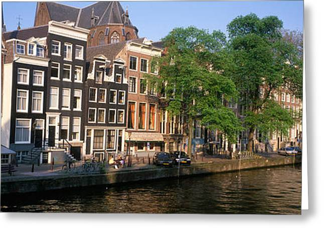 Elbows Greeting Cards - Netherlands, Amsterdam, Canal Greeting Card by Panoramic Images