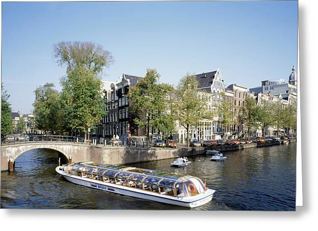 Car Park Greeting Cards - Netherlands, Amsterdam, Tour Boat Greeting Card by Panoramic Images