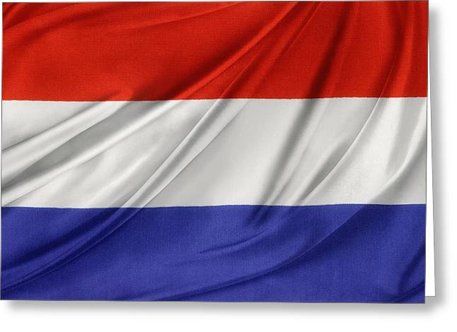 Netherlands Flag Greeting Card by Les Cunliffe