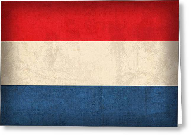 Netherlands Greeting Cards - Netherlands Flag Vintage Distressed Finish Greeting Card by Design Turnpike