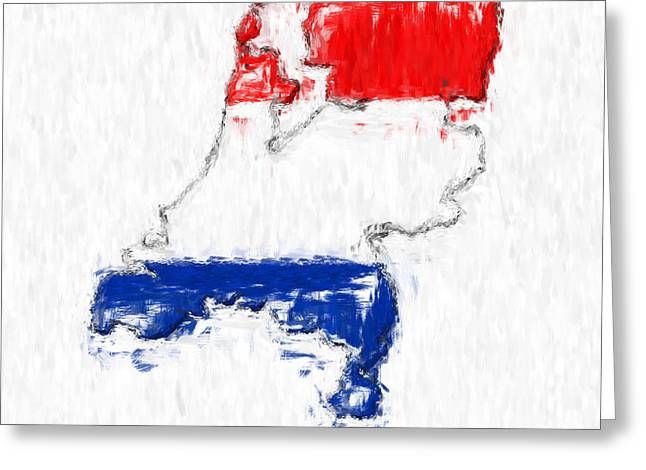 Netherlands Painted Flag Map Greeting Card by Antony McAulay
