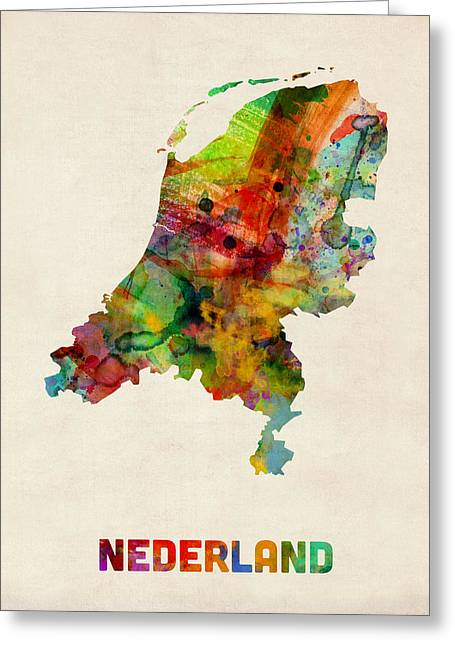 Holland Greeting Cards - Netherlands Watercolor Map Greeting Card by Michael Tompsett