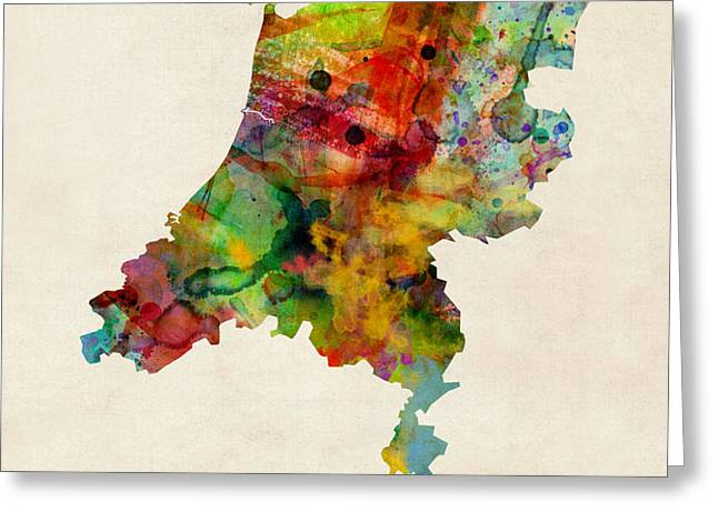 Netherlands Watercolor Map Greeting Card by Michael Tompsett