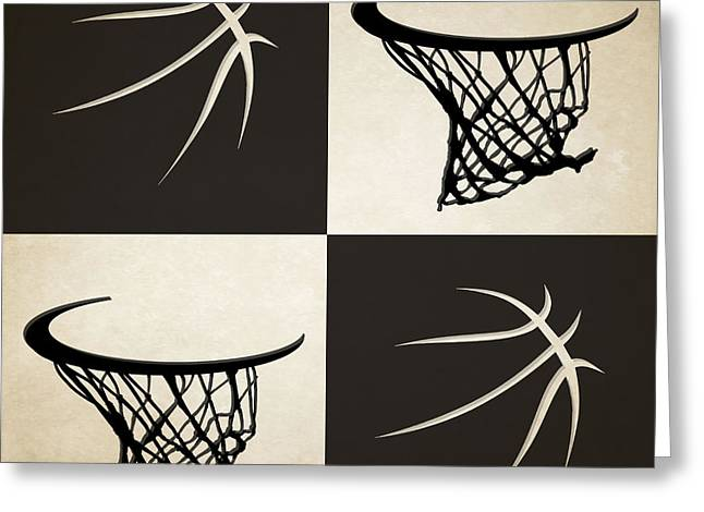 Net Greeting Cards - Nets Ball And Hoop Greeting Card by Joe Hamilton