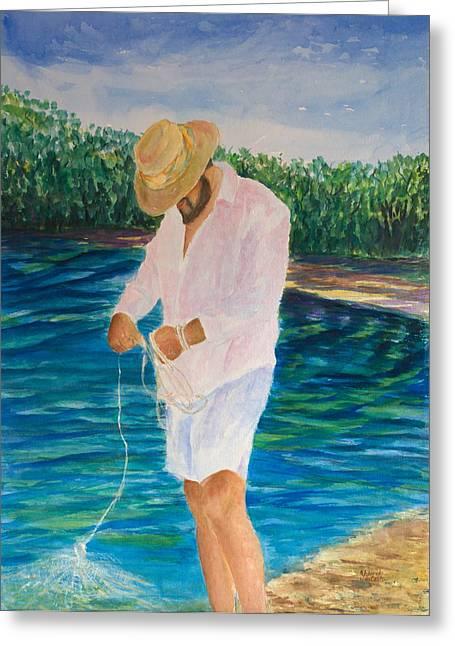 Netting Paintings Greeting Cards - Netting Greeting Card by Yolanda DeCosta