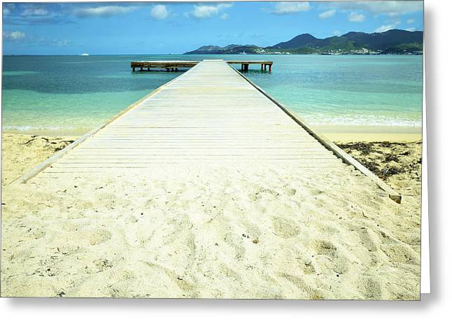 Saint-martin Greeting Cards - Nettle Bay Dock Greeting Card by Luke Moore