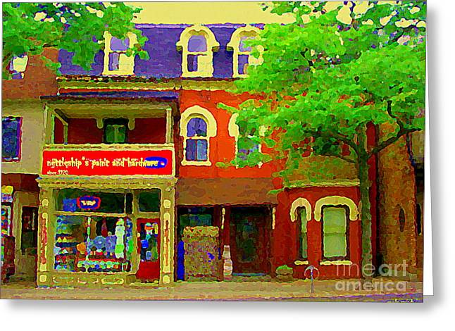 Hardware Paintings Greeting Cards - Nettleships Paint And Hardware Store Cabbagetown Paintings Of Toronto City Scenes Carole Spandau Art Greeting Card by Carole Spandau
