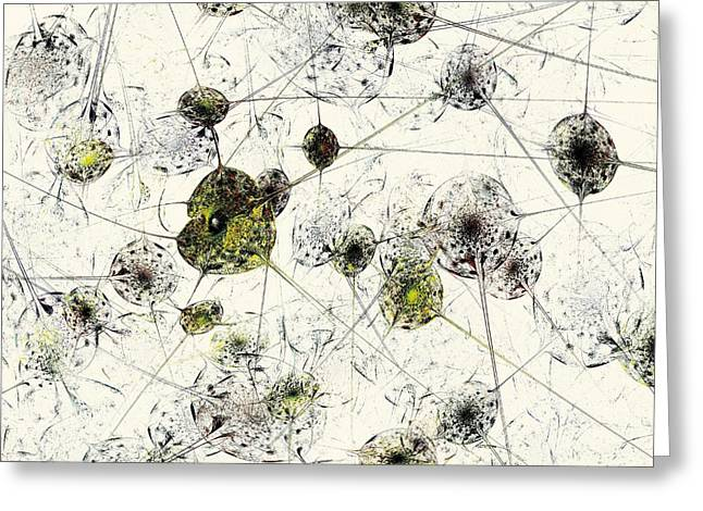 Whites Mixed Media Greeting Cards - Neural Network Greeting Card by Anastasiya Malakhova