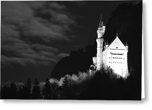 Moonlit Night Greeting Cards - Neuschwanstein Castle Greeting Card by Matt MacMillan