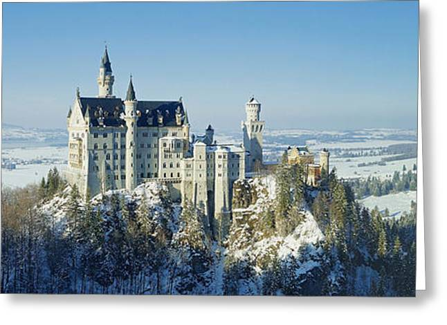 Rudi Prott Greeting Cards - Neuschwanstein castle panorama in winter 2 Greeting Card by Rudi Prott
