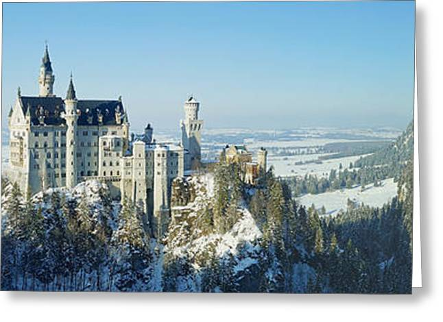 Rudi Prott Greeting Cards - Neuschwanstein castle panorama in winter Greeting Card by Rudi Prott