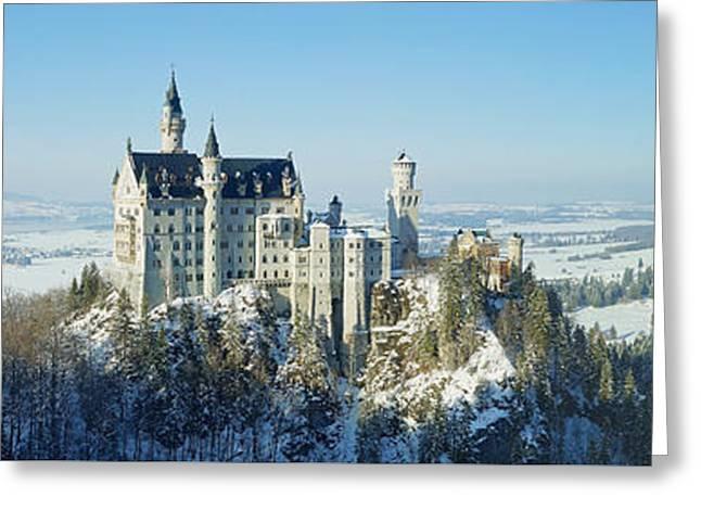 Neuschwanstein Castle Panorama In Winter Greeting Card by Rudi Prott