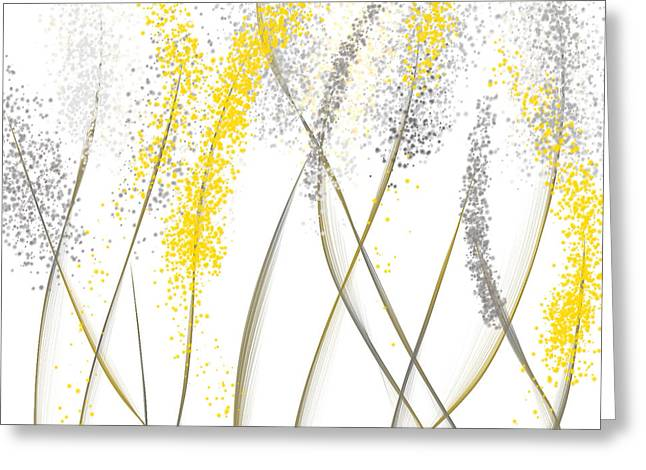 Yellow And Gray Abstract Greeting Cards - Neutral Sunshine - Yellow And Gray Modern Art Greeting Card by Lourry Legarde