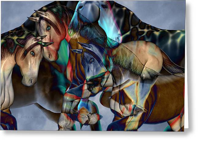Abstract Equine Greeting Cards - Neutral Tones Greeting Card by Betsy C  Knapp