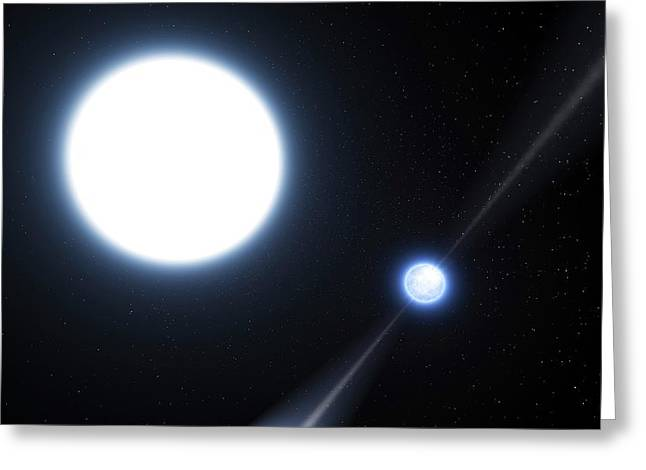 Neutron Star And White Dwarf System Greeting Card by Eso/l. Calcada