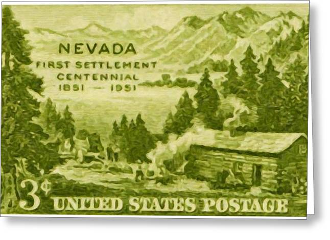 Postal Paintings Greeting Cards - Nevada Centenary Greeting Card by Lanjee Chee