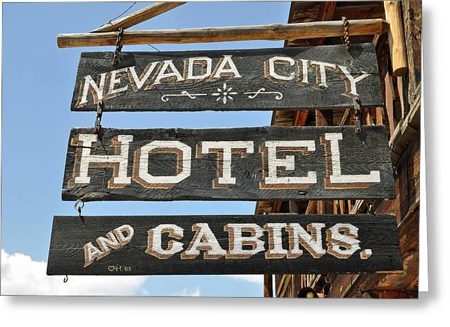 Gold Trout Greeting Cards - Nevada City Hotel Sign Greeting Card by Bruce Gourley
