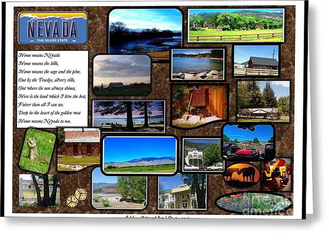 Print On Acrylic Greeting Cards - Nevada Collage Greeting Card by Bobbee Rickard