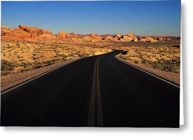 Absence Greeting Cards - Nevada. Desert Road Greeting Card by Anonymous