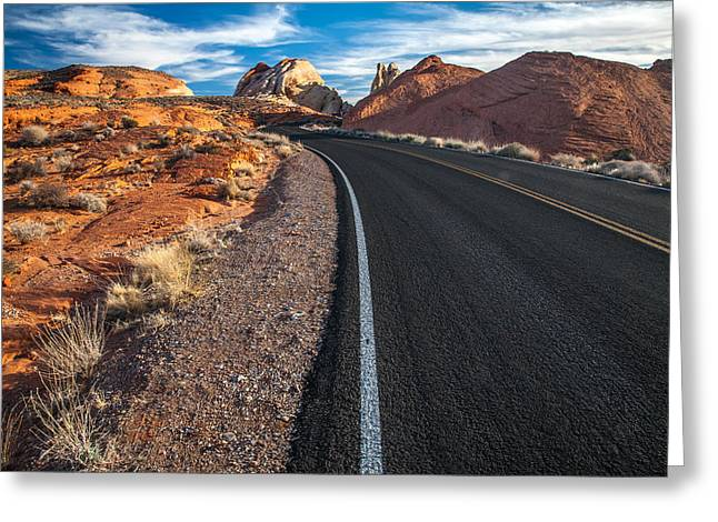 Double Yellow Line Greeting Cards - Nevada Highways Greeting Card by Peter Tellone