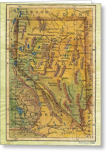 Map Of The Hand Greeting Cards - Nevada  Greeting Card by Lisa Middleton