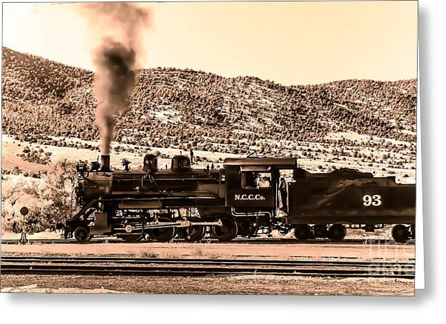 Haybale Photographs Greeting Cards - Nevada Northern Railway Greeting Card by Robert Bales