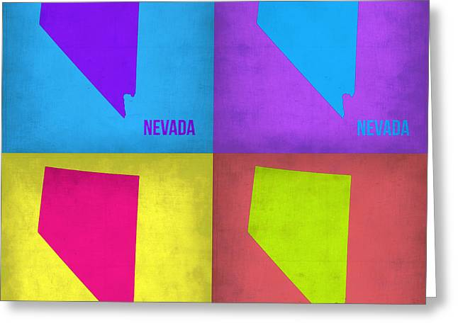 Nevada Greeting Cards - Nevada Pop Art Map 1 Greeting Card by Naxart Studio
