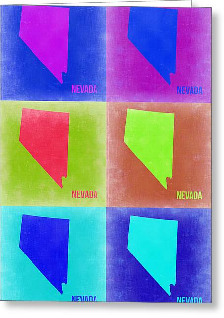 Nevada Greeting Cards - Nevada Pop Art Map 2 Greeting Card by Naxart Studio
