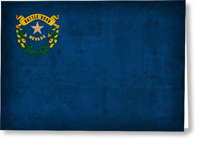 Nevada Greeting Cards - Nevada State Flag Art on Worn Canvas Greeting Card by Design Turnpike