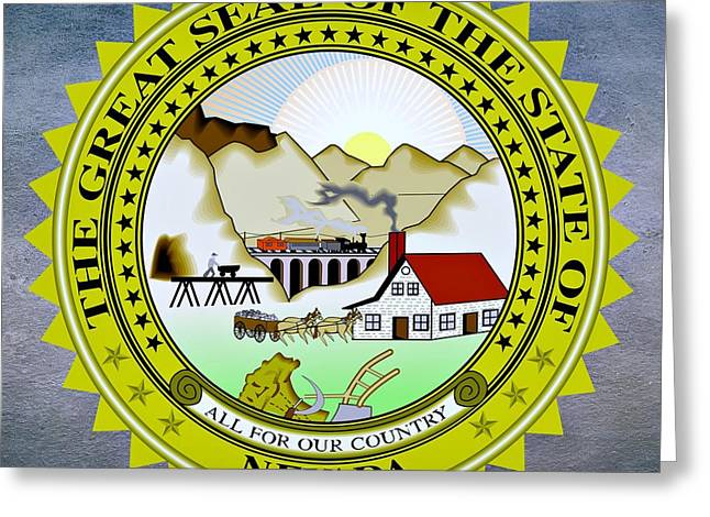Snow Capped Greeting Cards - Nevada State Seal Greeting Card by Movie Poster Prints