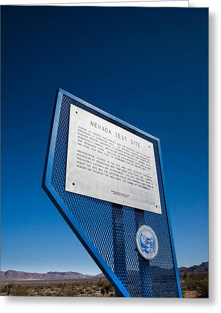 Nevada Photography Greeting Cards - Nevada Test Site Sign At The Site Greeting Card by Panoramic Images