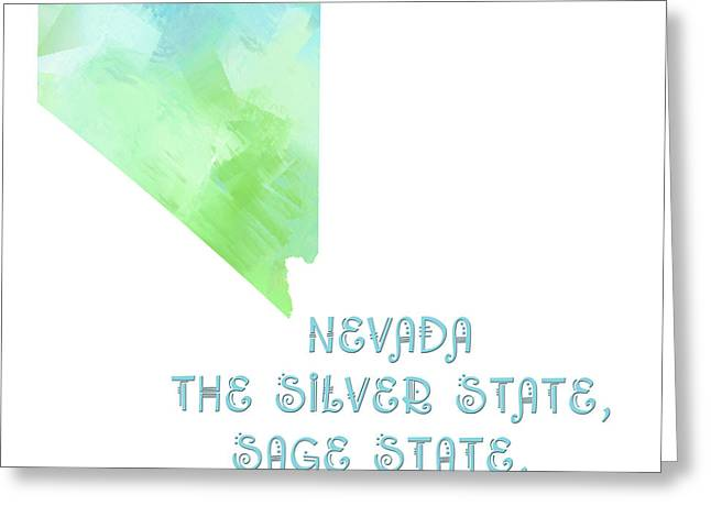 State Phrase Greeting Cards - Nevada - The Silver State - Sage State - Sagebrush State - Map - State Phrase - Geology Greeting Card by Andee Design