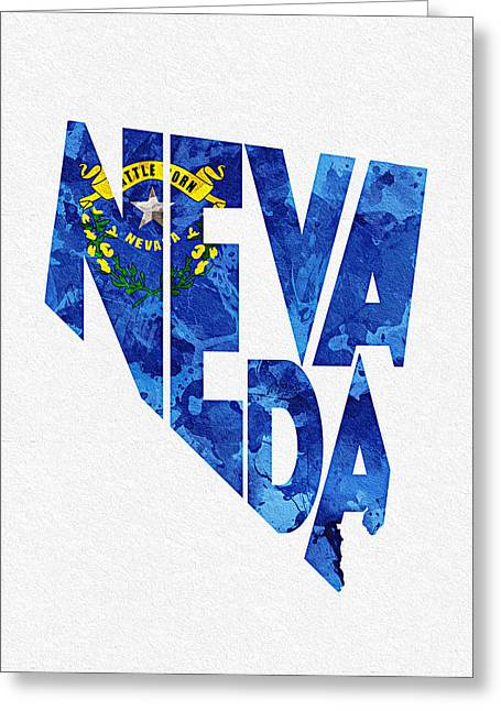 Homeland Greeting Cards - Nevada Typographic Map Flag Greeting Card by Ayse Deniz