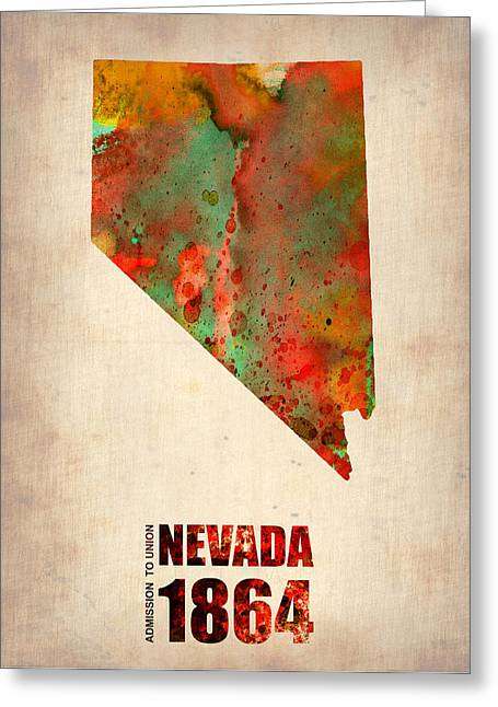 Nevada Greeting Cards - Nevada Watercolor Map Greeting Card by Naxart Studio