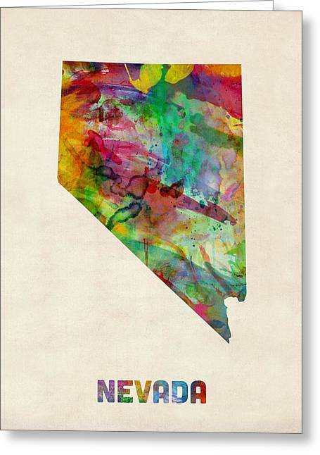 Cartography Digital Art Greeting Cards - Nevada Watercolor Map Greeting Card by Michael Tompsett