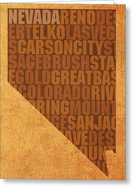 Nevada Greeting Cards - Nevada Word Art State Map on Canvas Greeting Card by Design Turnpike