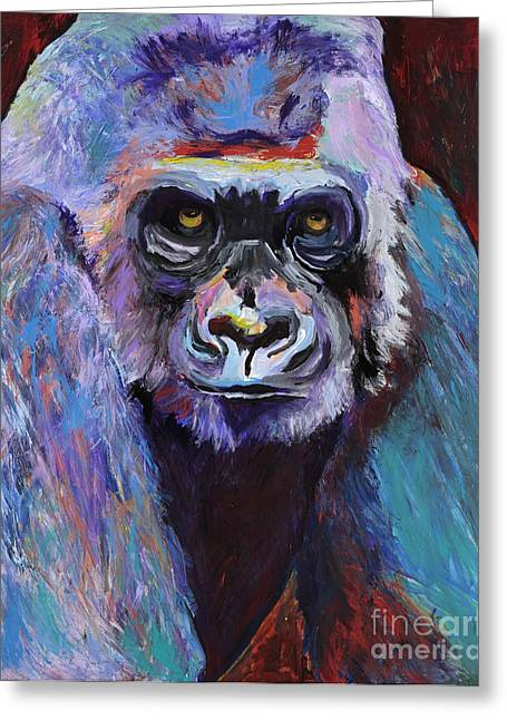 Wildlife Art Acrylic Prints Greeting Cards - Never Date A Gorilla With A Nice Smile Greeting Card by Pat Saunders-White