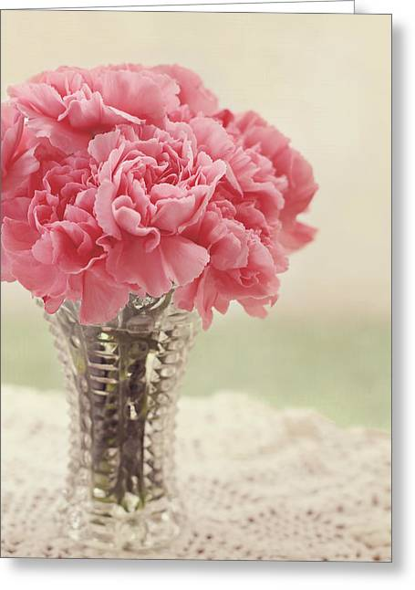 Pink Carnations Greeting Cards - Never Ending Love Greeting Card by Kim Hojnacki