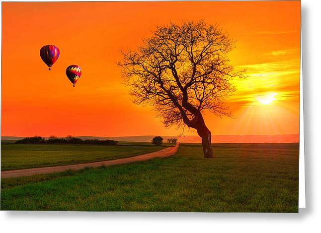 Hot Air Balloons Greeting Cards - Never Ending Road Greeting Card by Midori Chan
